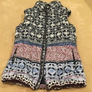 Anthropologie Pure Good patterned puffy vest